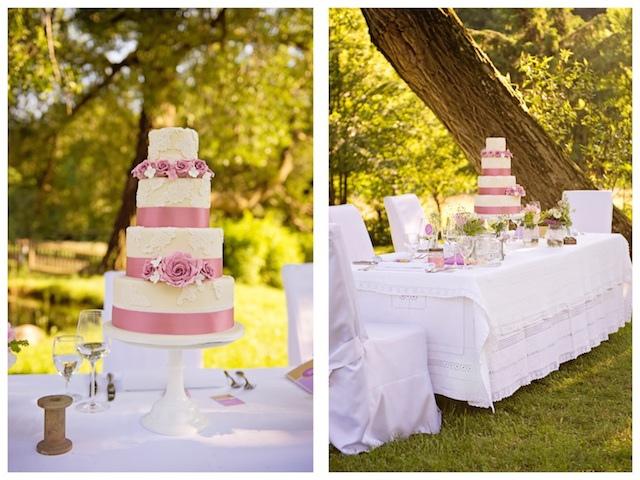 Romantische Hochzeitstorte Im Garten
